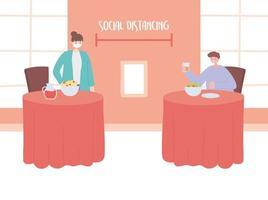restaurante sobre prevención del coronavirus con distanciamiento social vector