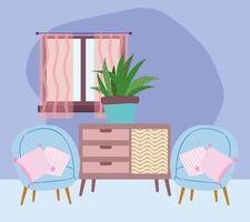 lindo interior de la casa vector