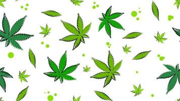 Seamless texture with leaves of cannabis.
