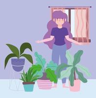 mujer con decoración de plantas de interior, actividades en cuarentena vector