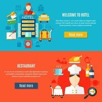 Bienvenido al conjunto de banners de servicio de hotel y restaurante. vector