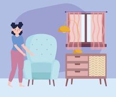 Woman doing quarantine activities indoors