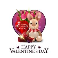 Happy Valentine's day, square white greeting card vector