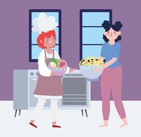 Women cooking recipes in quarantine