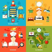 Hotel Services And Facilities Square Banner Set vector