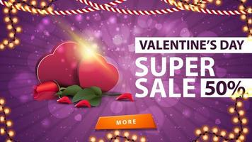Valentine's day sale, up to 50 off banner vector