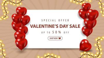 Valentine's sale, up to 50 off banner