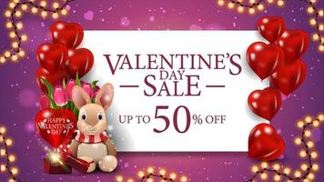 Valentine's sale, up to 50 off banner vector