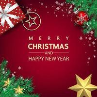 cartel de navidad y año nuevo con estrellas y regalo. vector