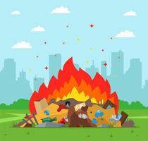 Vertedero de basura ardiendo con la ciudad en segundo plano. vector