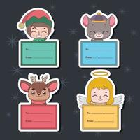 Set of Christmas gift tags with various characters vector