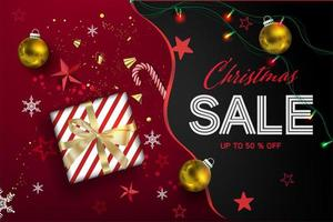 Christmas sale composition with gift and ornaments vector