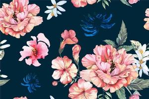 Seamless Peony Pattern Painted with Watercolor