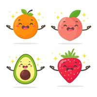 Cartoon healthy fruit set with faces vector