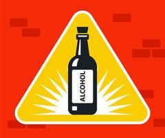 Black alcohol bottle icon on triangular road sign