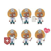 African American female doctor mascot in various poses vector