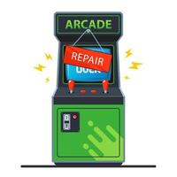 Broken retro arcade machine vector