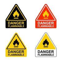 conjunto de pegatinas inflamables de peligro