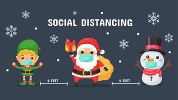 distanciamiento social de santa enmascarado, elfo y muñeco de nieve vector