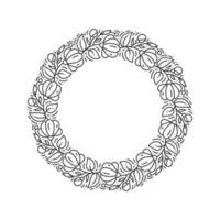 Flower wreath outline with place for text