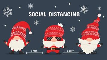 Three lovely Christmas gnomes social distancing vector