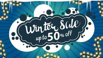 Winter sale, blue discount banner with garland vector