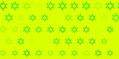 Green background with covid 19 symbols.