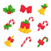 Christmas bells, red bows and candy canes set vector