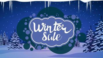 Winter sale, modern blue discount banner vector