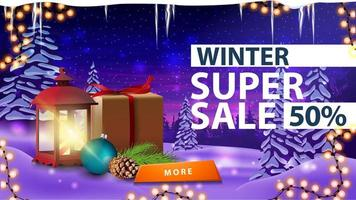 Discount banner with winter landscape on background