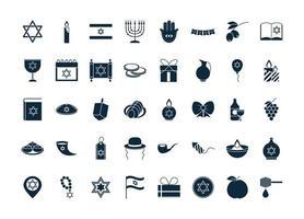 Hanukkah, Jewish traditional ceremony silhouette icon set