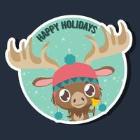 Happy Holidays greeting with cute little moose vector