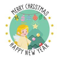 Christmas and New Year greeting with little angel vector