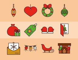 línea de navidad y conjunto de iconos de relleno