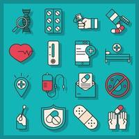 colección de iconos de investigación y ciencia de vacunas