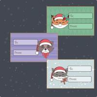 Set of cute Christmas tags with animals vector
