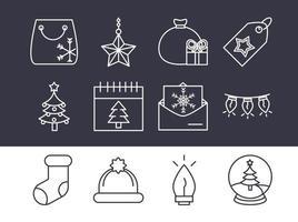 conjunto de iconos de línea de navidad
