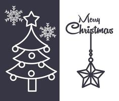 Christmas line composition with tree and stars
