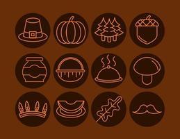 Thanksgiving Day celebration icon set