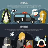 Funeral And Mourning Template Banner Set vector
