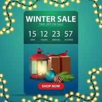 Winter sale, web banner with countdown timer