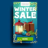 Modern blue vertical winter discount banner with present