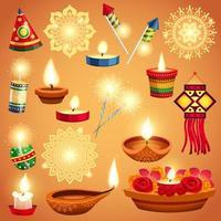Realistic Diwali Icon Set vector