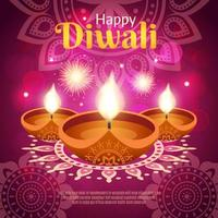 banner de plantilla realista de diwali