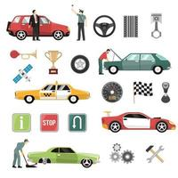 Car and Auto Flat Icon Set vector