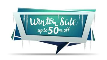 Winter sale, green discount banner