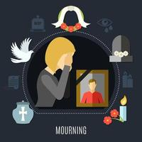 Mourning Concept Chart vector