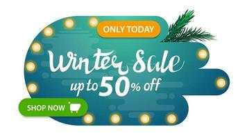 Winter sale, modern abstract shape discount banner vector