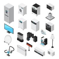 Household Appliances Isometric Icon Set vector