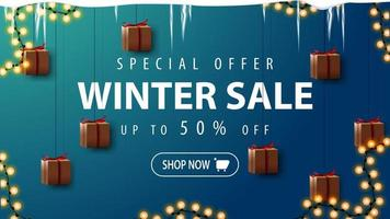 Winter sale, discount banner with garland vector